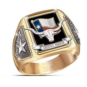 TEXAS PRIDE Bold Gold-Tone Ring New